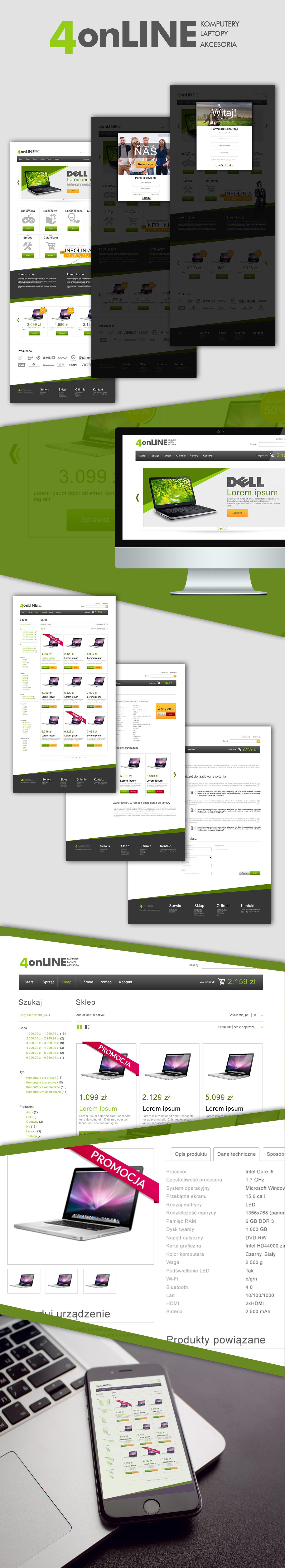 Prezentacja layoutu internetowego sklepu komputerowego