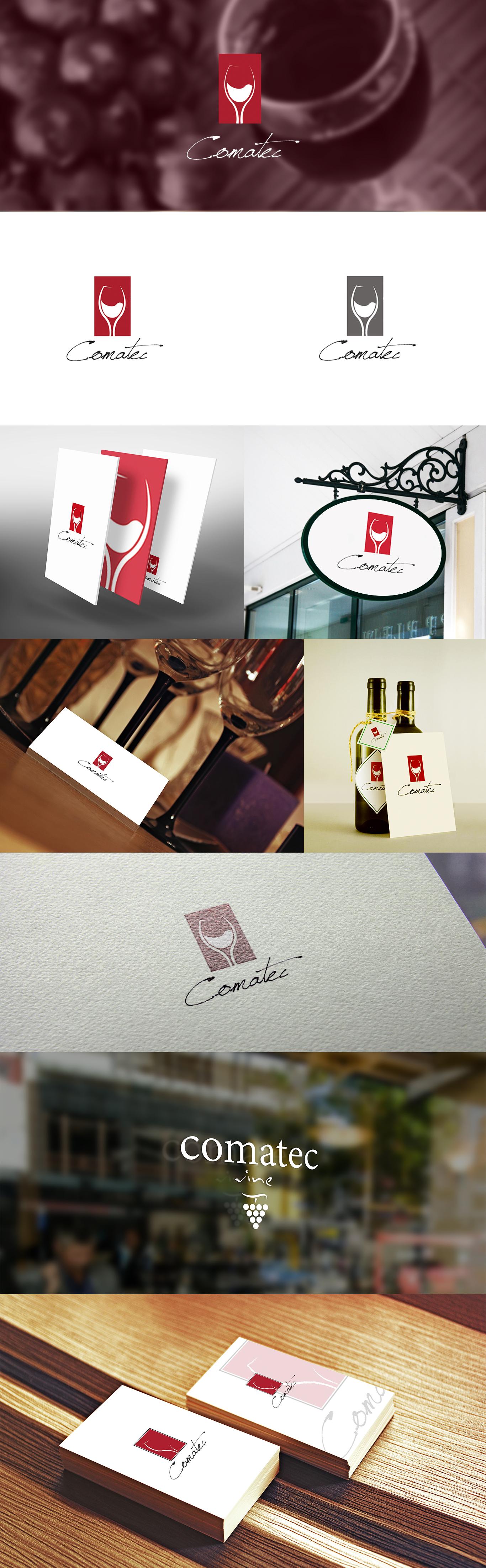 Prezentacja logotypu dla dystrybutora win ułożona w różnych kompozycjach