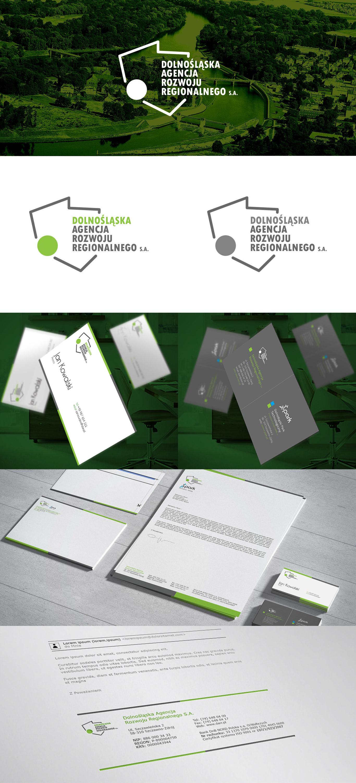 Prezentacja kompleksowej identyfikacji wizualnej regionalnej agencji zajmującej się inwestycjami regionalnymi, w skład której wchodzą: logotyp, wizytówki oraz papier firmowy