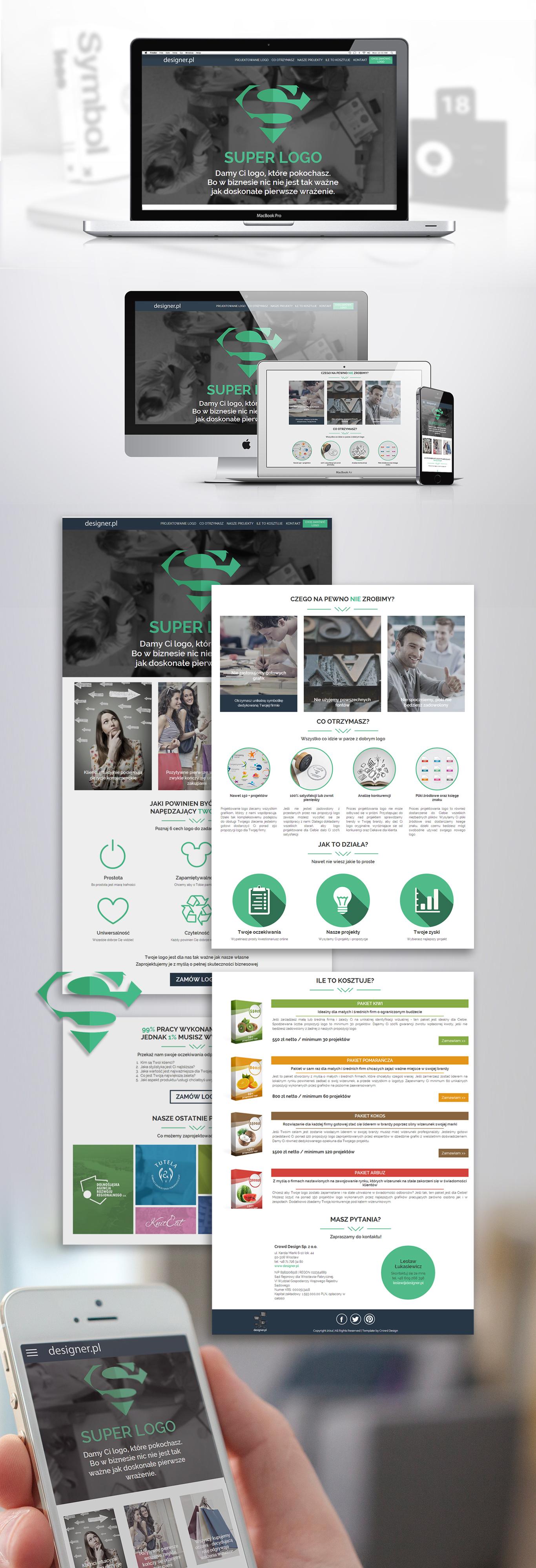 Prezentacja nowoczesnego projektu landing page strony www firmy projektującej logo