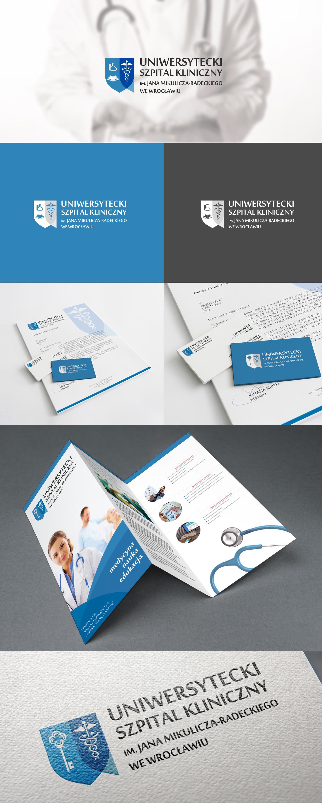 Prezentacja projektu logo, wizytówek i papieru firmowego dla szpitala