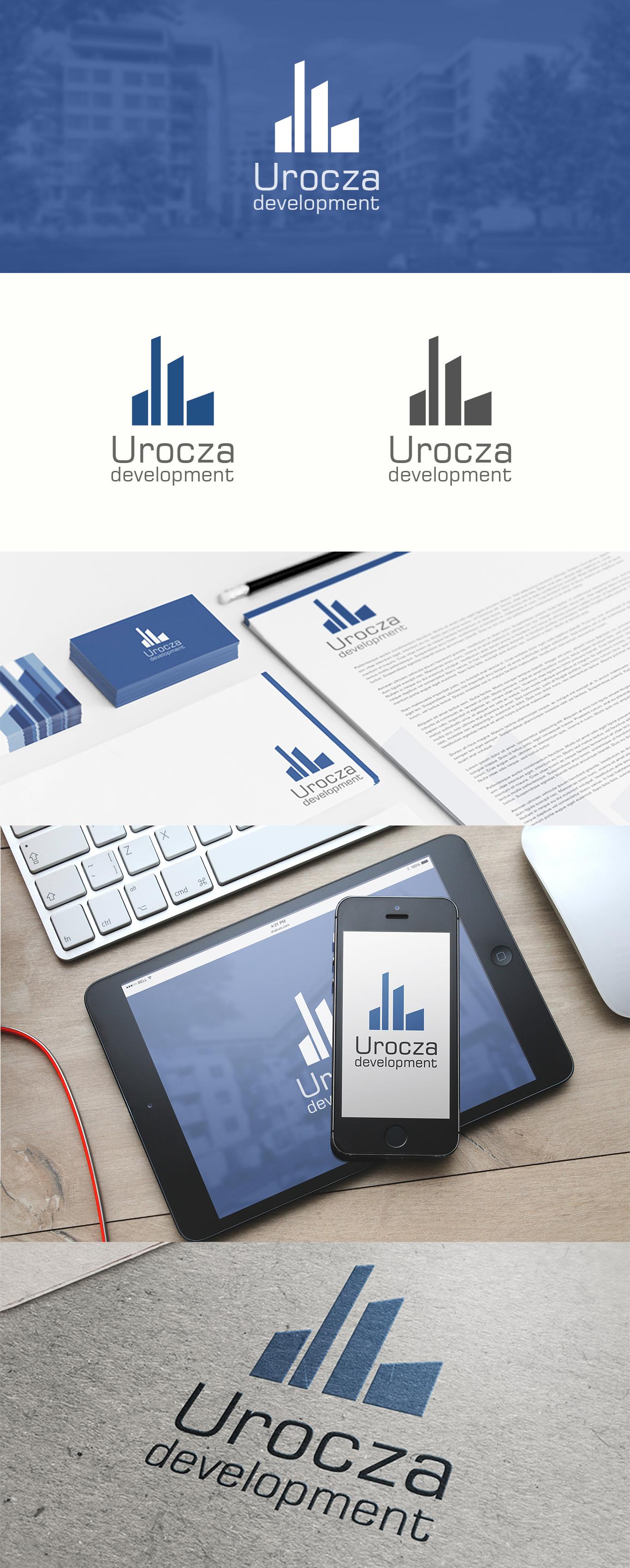 Prezentacja projektu logo na papierze firmowym, wizytówkach i wyświetalaczach małych i dużych dla firmy developerskiej