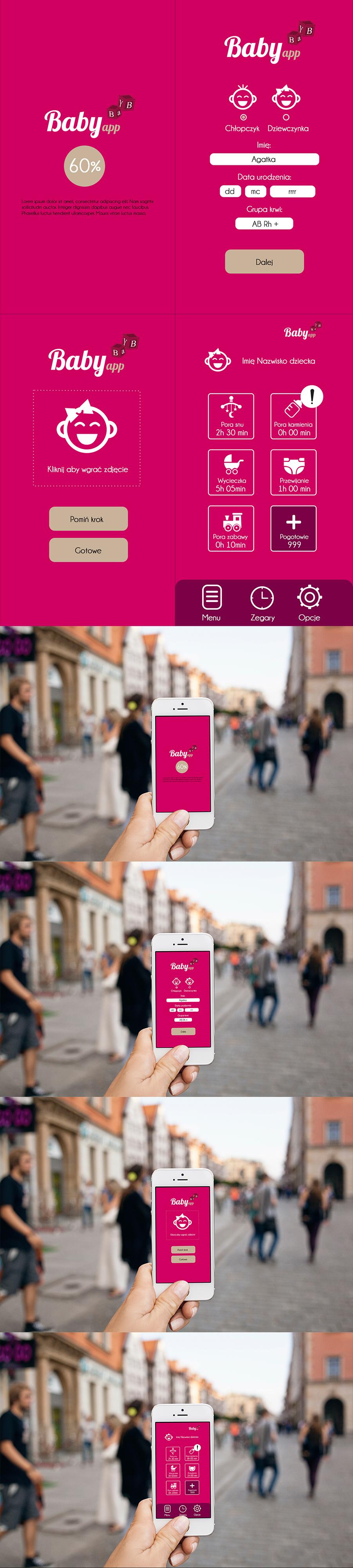 Prezentacja różnych podstron aplikacji mobilnej służącej do śledzenia aktywności niemowląt