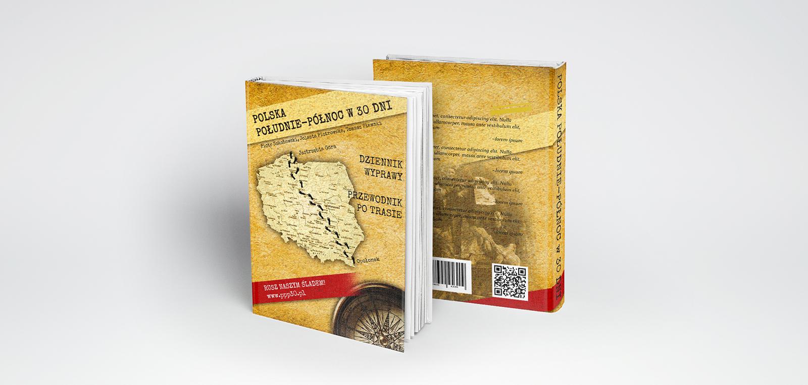 Projekt okładki książki opisującej podróż pieszo przez polskę