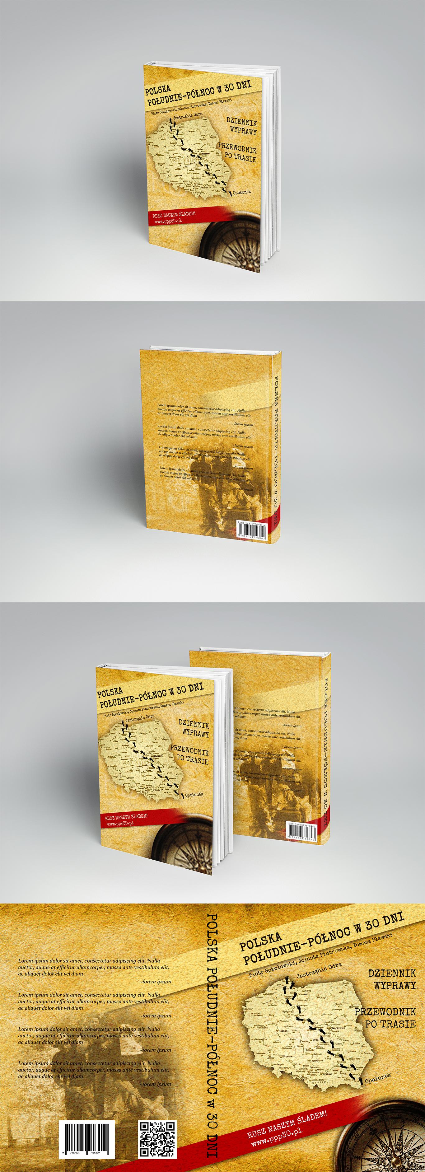 Projekt okładki książki opisującej podróż pieszo przez polskę.