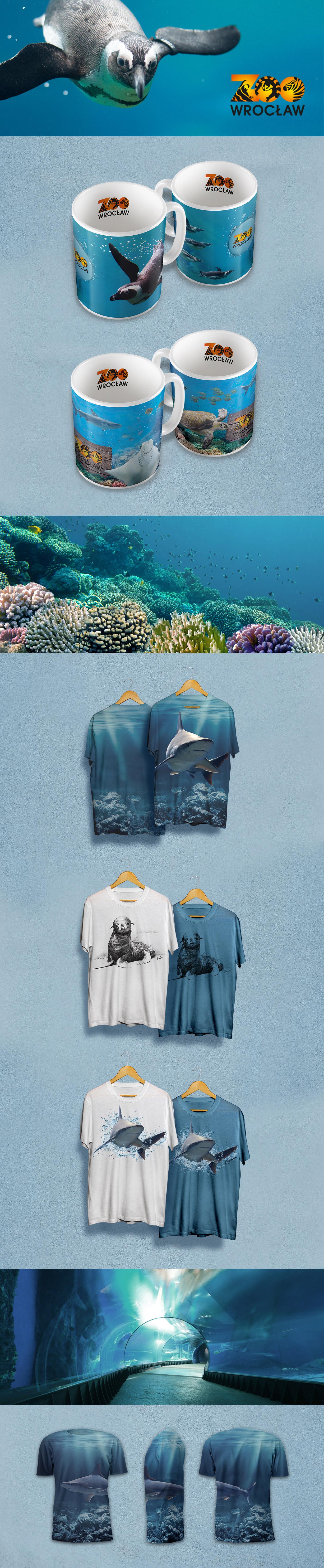 Projekt graficzny kubków, koszulek i monidła dla wrocławskiego ZOO, przedstawiający morskie zwierzęta i ich środowisko