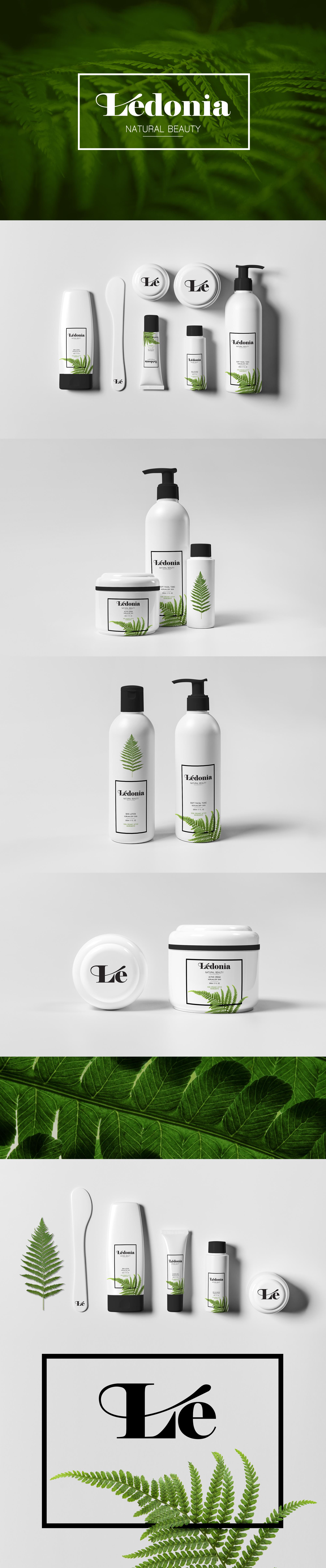 Prezentacja różnych projektów opakowań dla kosmetyków. Kremy, szampony, mleczka