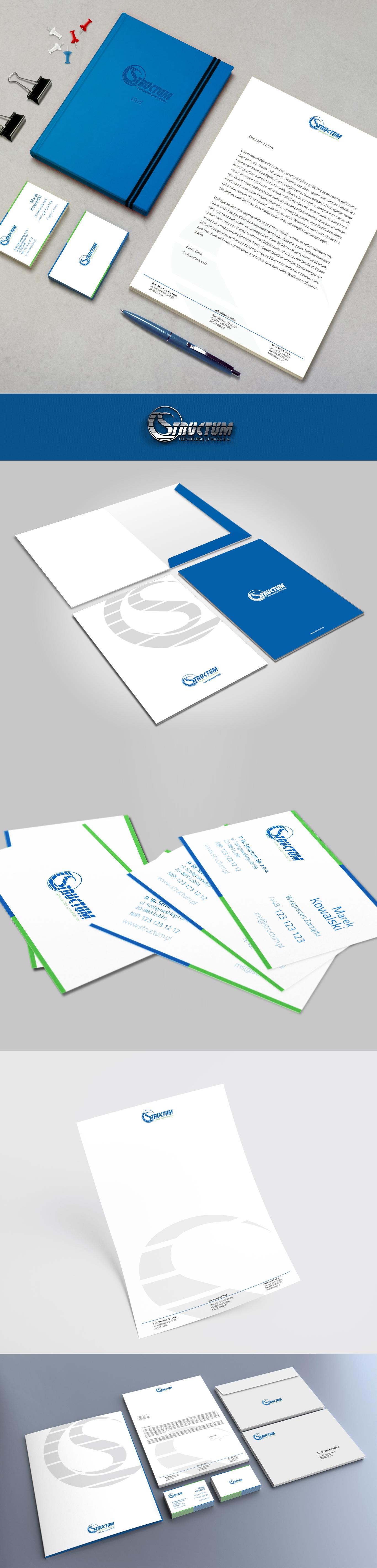 Projekt wizytówek, papieru firmowego oraz teczki na dokumenty