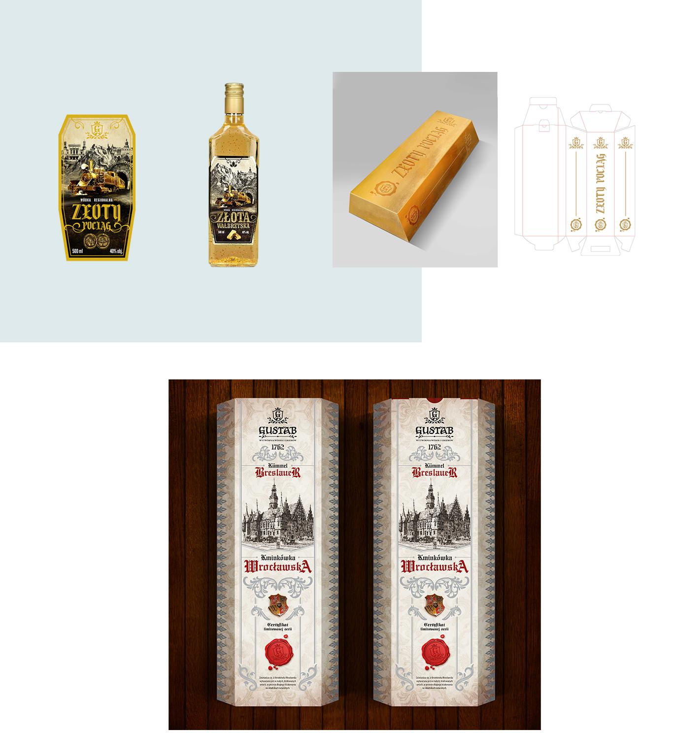 etykieta pudelko i wizualizacja dla manufaktury wodek i likierow Gustab