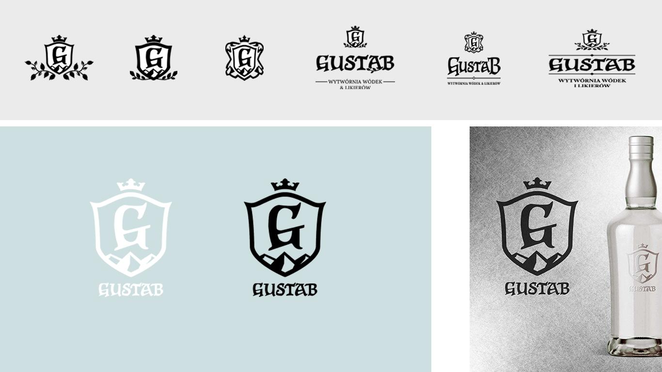 projekty i szkice logo dla manufaktury wodek i likierow gustab